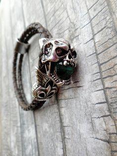 Brown braided leather bracelet / skull door JHFWBeadsAndFindings