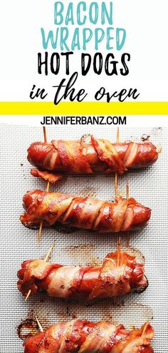 Make these bacon wrapped hot dogs (aka danger dogs) in the oven anyway you like! I give tips on getting the bacon nice and crispy and how to keep it from un-rolling. Have you ever heard of danger dogs? Oven Hot Dogs, Baked Hot Dogs, Bacon Wrapped Sausages, Bacon Wrapped Chicken, Hot Dog Recipes, Bacon Recipes, Keto Recipes, Oven Recipes, Snack Recipes