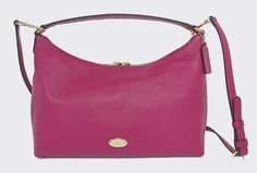 Coach Pebbled Leather EW Celeste Hobo Shoulder Bag Crossbody Cranberry Pink #Coach #Hobo