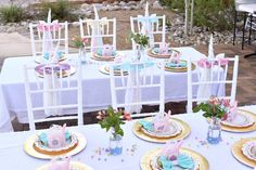 Guest tables from a Pastel Unicorn Themed Birthday Party via Kara's Party Ideas   KarasPartyIdeas.com (30)