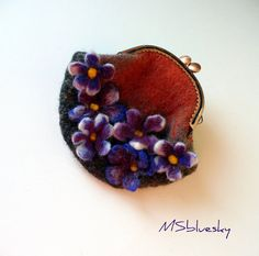 Wet Felted FLOWER Violets coin purse Ready to Ship by MSbluesky, $29.00
