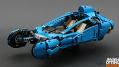 This is a LEGO Technic replica of the spinner from the movie Bladerunner. It is motorized with three functions: the doors and the ability to switch between drive-mode and fly-mode. Blade Runner Spinner, Log Trailer, Technique Lego, Lego Ship, Lego Military, Cool Lego Creations, Lego Parts, Lego Models, Lego Moc