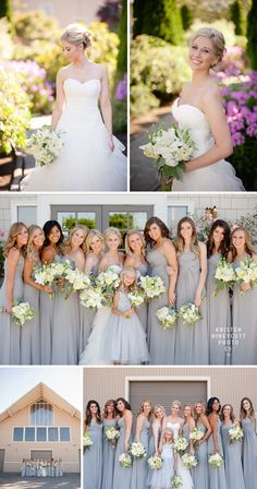 Lord Hill Farms country rustic wedding in Seattle, WA; Wedding Dress: Paloma Blanca; Bridesmaid Dress: B2 in Platinum Grey; Bride Shoes: Jimmy Choo; Kristen Honeycutt Photography