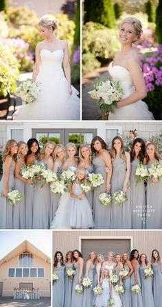 Lord Hill Farms country rustic wedding in Seattle, WA; Wedding Dress: Paloma Blanca; Bridesmaid Dress: B2 in Platinum Grey; Bride Shoes: Jimmy Choo; Kristen Honeycutt Photography