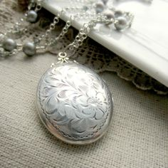 Vintage Birks Locket, Large Silver Locket, Sterling Silver Oval Locket, Freshwater Pearls  - Eternally on Etsy, $275.00