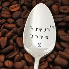 Halloween coffee spoon: Witch's Brew hand stamped silverware for a witchy woman. Witches Brew spoon