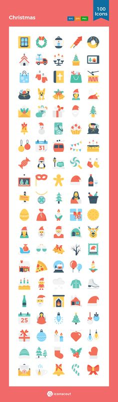 Christmas  Icon Pack - 100 Flat Icons