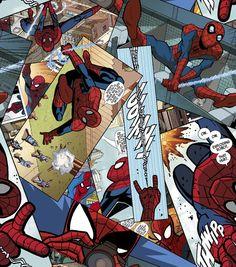 Marvel Spiderman Comic Panel Toss Fleece Fabric