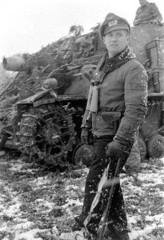 """bmashine: """"The commander of the battalion assault tanks (Stu Pz Abt major Lenore in the background of Brummbar, Ardennes """""""