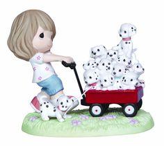 Precious Moments Disney Girl Pulling Wagon of Dalmatians Figurine