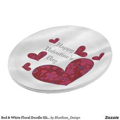 Red & White Floral Doodle Glitter Heart Plates 9 Inch Paper Plate