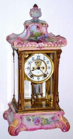 Antique Clock Crystal, Porcelain Regulator