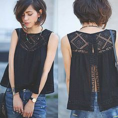 Details about Fashion Women Summer Vest Top Sleeveless Blouse Casual Tank Tops T-Shirt Lace - Fashion Moda 2019 Summer Vest, Summer Tops, Cooler Look, Lace Outfit, Sleeveless Blouse Outfit, Casual Hairstyles, Fashion Hairstyles, Hippie Outfits, Hippie Dresses