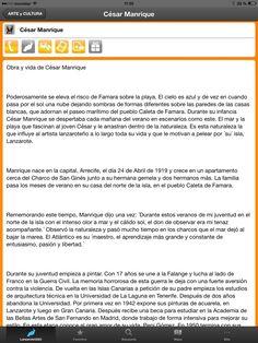 La vida y mas de César Marique en la APP Lanzarote2GO