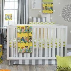 Whimsical and bright, the Little Hoot set by Glenna Jean Designs brings a pop of adorable color to your nursery. Premium fabrics means this set will last for years, and it transitions well to older children as well. 4 pc set priced at $308.  http://www.pishposhbaby.com/glenna-jean-lil-hoot-4pc-set.html