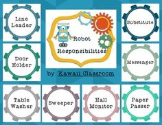$2.50 Robot Responsibilities Job Board: This job chart works great in a robot/technology/STEAM themed classroom. It includes a title as well as the following jobs: -Line Leader-Door Holder-Table Washer-Sweeper-Hall Monitor-Paper Passer-Messenger-Substitute-Librarian-Light Switch-Caboose-Pencil Sharpener-Cubby CheckThere are 3 blank gears included for other jobs that you may want to add.