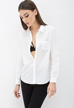 Classic Button-Down Shirt - Tops - 2052289175 - Forever 21 UK Forever 21 Uk, Shop Forever, Work Tops, Office Fashion, F21, Latest Trends, Button Down Shirt, Tees, Coat