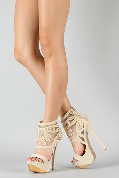 York Studded Spike Mesh Ankle Cuff Platform Sandal-Pretty!!
