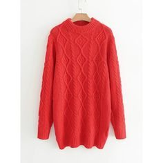 Cable Knit Sweater Dress ($6.99) ❤ liked on Polyvore featuring dresses, sweater dresses, cable sweater dress, cable knit sweater dress, red sweater dress and cable dress