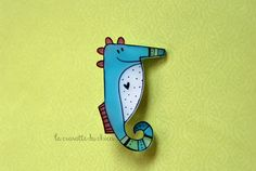 Seahorse brooch Illustrated jewelry cute by lacravatteduchien