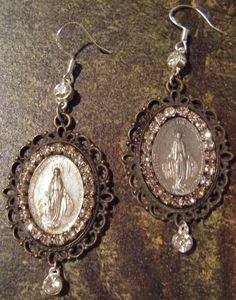 Vintage religious earrings Madonna sacred heart rhinestone sterling silver Virgin Mary jewelry assemblage
