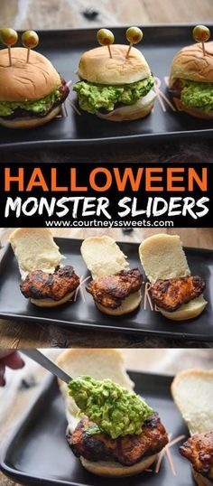 Halloween Appetizer Monster Sliders Make these fun Halloween Appetizer Monster Sliders! Mini Sliders with seasoned chicken thighs guacamole and fun spooky monster eyes! The post Halloween Appetizer Monster Sliders appeared first on Halloween Food. Halloween Snacks, Halloween Fingerfood, Creepy Halloween Food, Halloween Party Appetizers, Halloween Fun, Halloween Dinner, Party Snacks, Guacamole, Mini Sliders