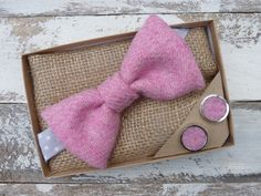 Pink Harris Tweed Bow Tie and Cufflink Set, Bowtie Scottish Gift, Wedding Tie, Handmade, Handmade tie, Pink Pocket square, Pink Cufflinks by TheCrimsonCoo on Etsy https://www.etsy.com/uk/listing/276379858/pink-harris-tweed-bow-tie-and-cufflink