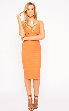 Celline Plunge Neck Textured Orange Midi Dresses