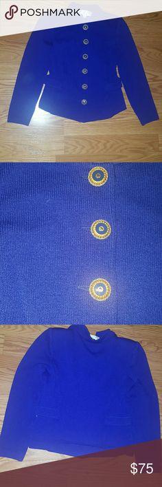 St. John blue knit jacket. Exelent condition , very clean , blue jacket St. John Jackets & Coats Blazers