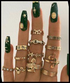 Edgy Nails, Stylish Nails, Swag Nails, Grunge Nails, Nail Jewelry, Cute Jewelry, Danty Jewelry, Jewlery, Jewellery Bracelets