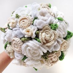 New to the shop!  Keepsake Crochet Wedding Bouquet  Wedding Whites by ToHaveandToHolder, $250.00