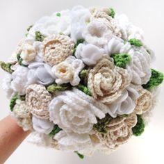New to the shop!  Keepsake Crochet Wedding Bouquet  Wedding Whites by ToHaveandToHolder, $250.00
