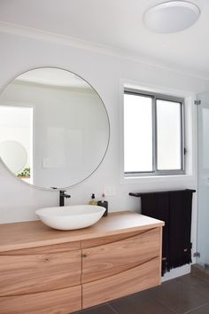 Custom made timber bathroom vanity - this is a variation to our Pt Cartwright vanity design. Pictured in solid Blackbutt. Timber Bathroom Vanities, Timber Vanity, Concrete Bathroom, Single Sink Bathroom Vanity, Bathroom Styling, Bathroom Inspo, Bathroom Ideas, Powder Room Vanity, Vanity Design