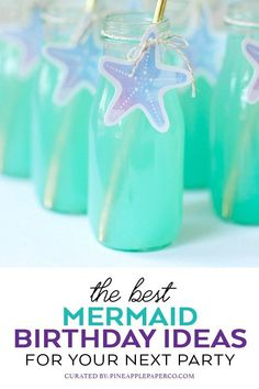 The Best Mermaid Birthday Party Ideas curated by Pineapple Paper Co. including Mermaid Party Food, Mermaid Birthday Decorations, and a Mermaid Birthday Outfit # Birthdays party The Best Mermaid Birthday Party Ideas - Pineapple Paper Co. Mermaid Birthday Decorations, Mermaid Birthday Cakes, Little Mermaid Birthday, Little Mermaid Parties, Girl Birthday Themes, Birthday Party Outfits, 6th Birthday Parties, Birthday Ideas, Birthday Design