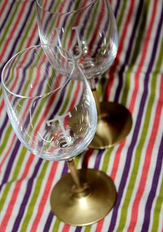 DIY Etched Gold-Dipped Wine Glasses