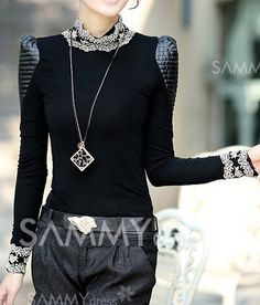 $9.11 Ladylike Style Puff Sleeves Lace Splicing Stand Neck Thicken Blouse For Women