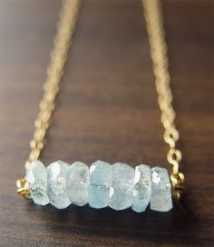 Aquamarine Nugget Necklace 14k Gold Fill by friedasophie on Etsy