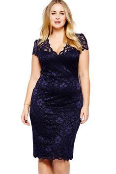 Navy Blue Scalloped V-neck Lace Plus Size Midi Dress modeshe.com