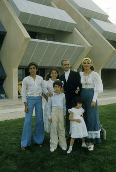Shah, Queen Farah and their children, Reza, Farahnaz, Alireza, and Leila, Kish, 1975