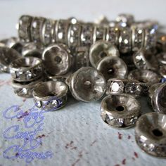 8 mm Aged Silver Czech Crystal Rhinestone Rondelle Spacers 50 pcs - Straight Edge - Channel Set - Vintage Style