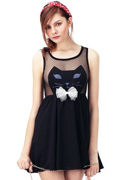 """#ROMWE ROMWE   """"Cat Face"""" Black Dress, The Latest Street Fashion"""
