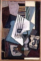 Picasso - Nature morte: guitare, journal, verre et as de trèfle, 1914. Musée Picasso Paris