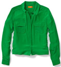 joe fresh fashions malachite green colors pics  | Cheap & Chic: Joe Fresh Silk Blouson Shirt Under $50