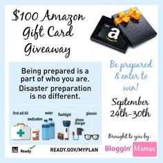 Get Prepared AND Enter to Win a $100 Amazon Gift Card!! (ends 9/30) .  http://africasblog.com/2015/09/25/national-preparedness-month-amazon-giveaway/