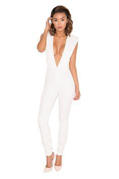 76ea4f4b39de Clothing   Jumpsuits    Basia  Off-White Deep Plunge Jumpsuit · House Of CbWhite  ...