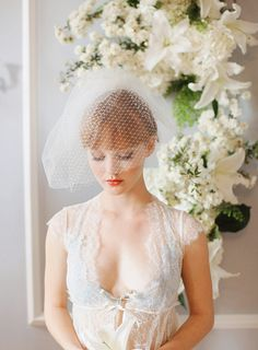Powder Room Inspiration shoot with shorty and pouffy late 50s/early 60s inspired birdcage veil - by Desi Baytan