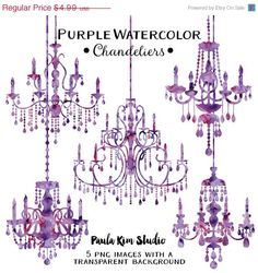 80 OFF SALE Purple Chandelier Watercolor Clipart Silhouettes Clip Art Wedding Invitation