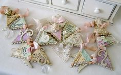 shabby banner using pretty scraps, buttons, trims by Melissa Phillips via her blog lilybeanpaperie