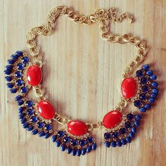 $33 Red and blue statement necklace , fan fringe necklace by vivalajewels.com
