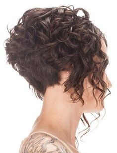 super short curly bob side view. A bit short but I like how the back angles in towards the neck.